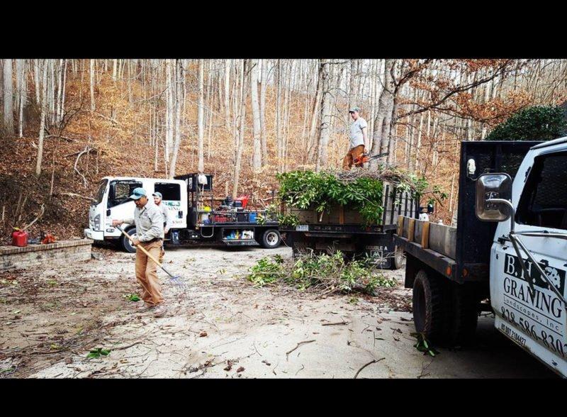raking leaves, pruning, landscapers